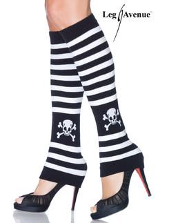 Leg Avenue striped skull leg warmer