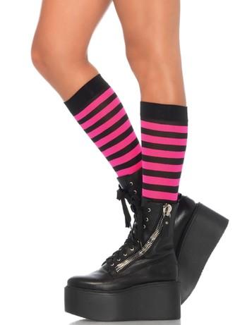 Leg Avenue striped Knee-highs black-fuchsia
