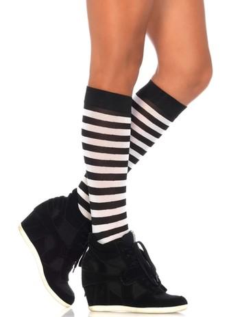 Leg Avenue striped Knee-highs black-white