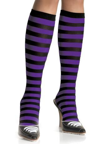 Leg Avenue striped Knee-highs black-purple