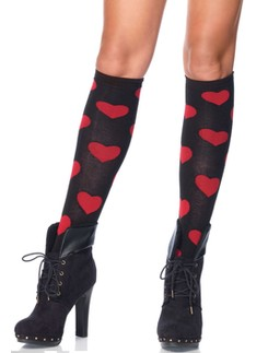 Leg Avenue Love Sick Heart Knee Highs
