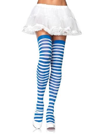 Leg Avenue Opaque Striped  Thigh Highs blue/white