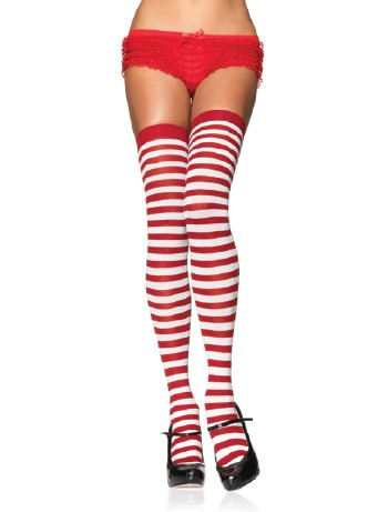 Leg Avenue Opaque Striped  Thigh Highs white-red