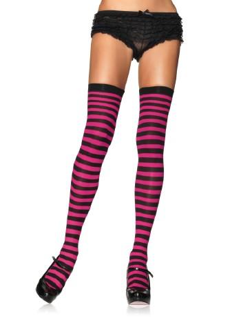 Leg Avenue Opaque Striped  Thigh Highs black-fuchsia