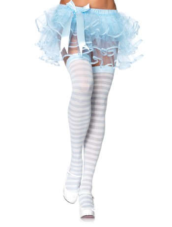 Leg Avenue Opaque Striped  Thigh Highs ivory-blue