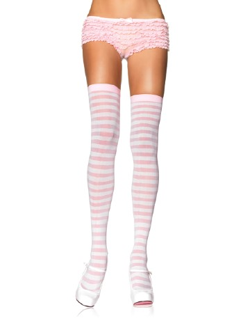 Leg Avenue Opaque Striped  Thigh Highs ivory/pink