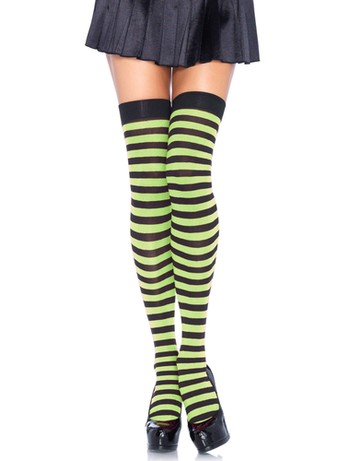 Leg Avenue Opaque Striped  Thigh Highs black- kelly green