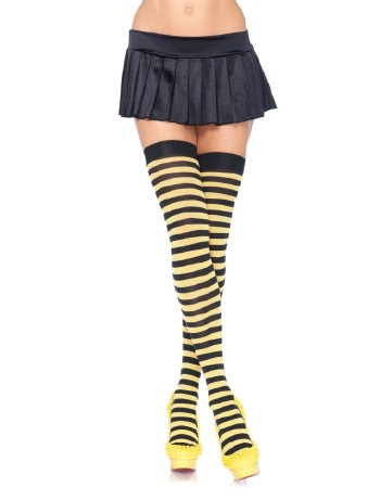 Leg Avenue Opaque Striped  Thigh Highs black-yellow