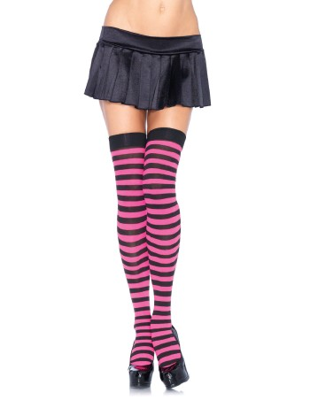 Leg Avenue Opaque Striped  Thigh Highs black/pink