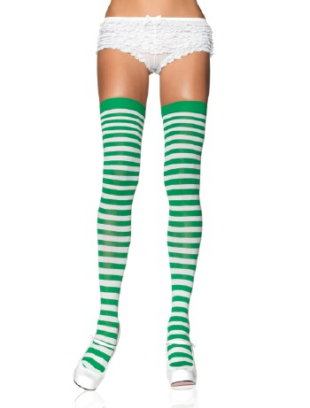 Leg Avenue Opaque Striped  Thigh Highs white-kellygreen