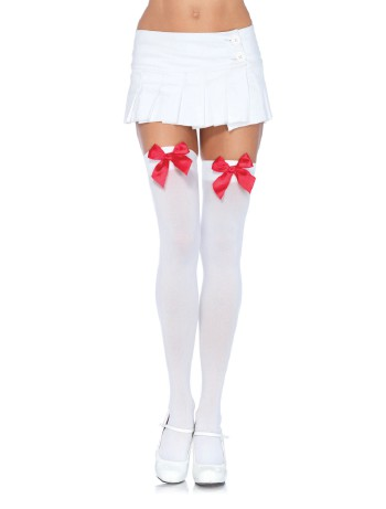 Leg Avenue Satin Bow opaque Hold-Ups white-red