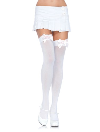 Leg Avenue Satin Bow opaque Hold-Ups white-light pink