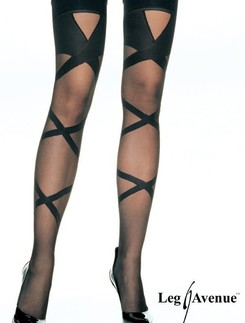 Leg Avenue Woven Criss Cross Sheer Stocking
