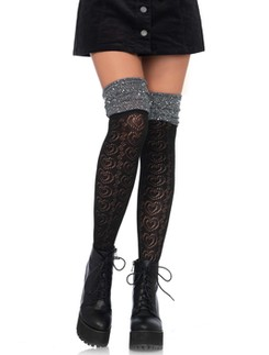 Leg Avenue Sweetheart Knit over the knee metallic scrunch Sock