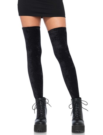 Leg Avenue Crushed Velvet Tigh High without Silicon black
