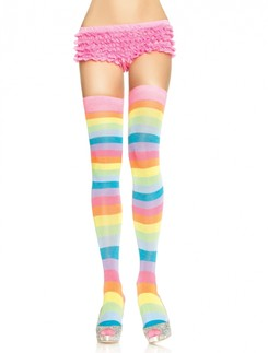 Leg Avenue Acrylic Neon Rainbow Thigh High Socks