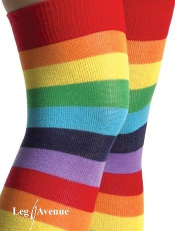 Leg Avenue Acrylic Rainbow Thigh Highs multicolor