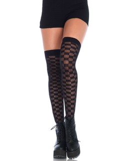 Leg Avenue Checkerboard Transparent Thigh Highs