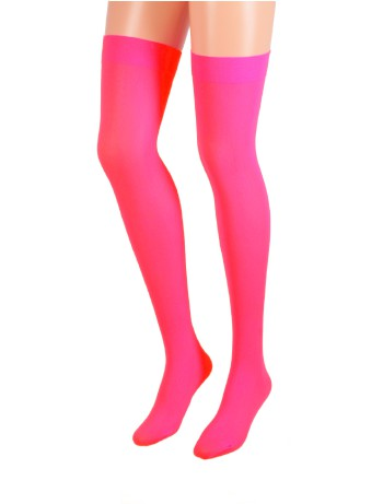 Leg Avenue Opaque Nylon Hold-Ups neon pink