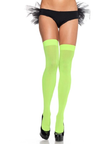Leg Avenue Opaque Nylon Hold-Ups neon green