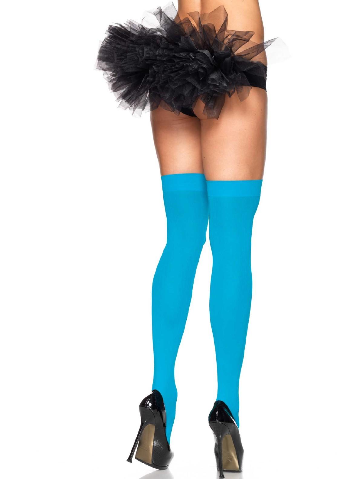 b99ea993027 ... Leg Avenue Opaque Nylon Hold-Ups neon blue ...