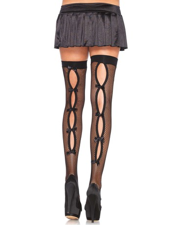 Leg Avenue Keyhole Back Seamed Hold-Ups black