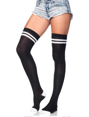 Leg Avenue Ribbed athletic thigh highs black-white