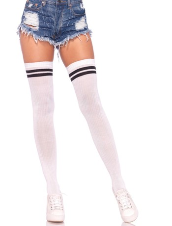 Leg Avenue Ribbed athletic thigh highs white-black