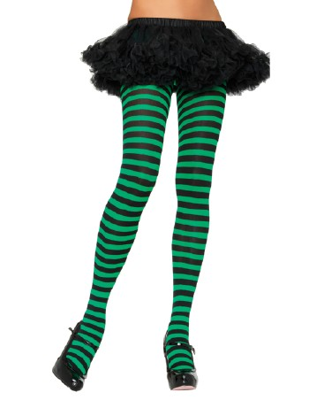 Leg Avenue opaque Striped Tights black- kelly green