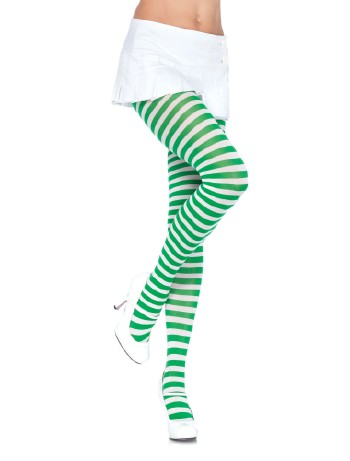 Leg Avenue opaque Striped Tights white-kelly green