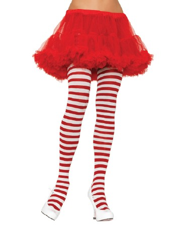 Leg Avenue opaque Striped Tights white-red
