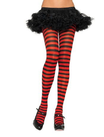 Leg Avenue opaque Striped Tights black-red