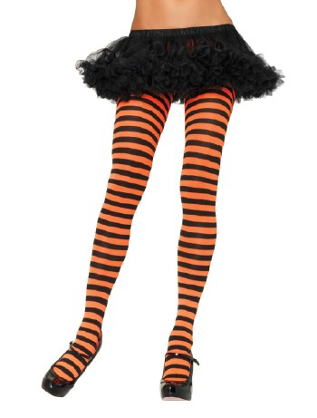 Leg Avenue opaque Striped Tights black-orange