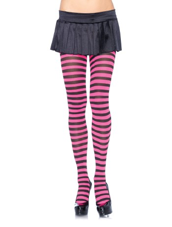 Leg Avenue opaque Striped Tights black/neonpink