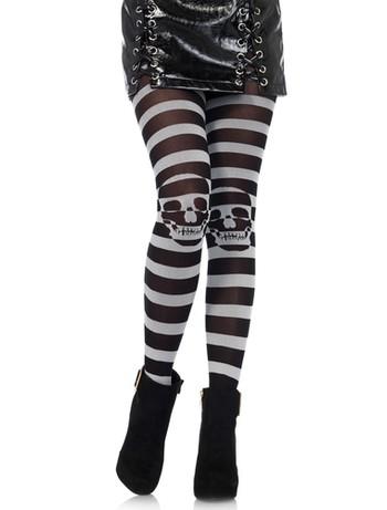 Leg Avenue Striped Skull Illusion Tights black-grey