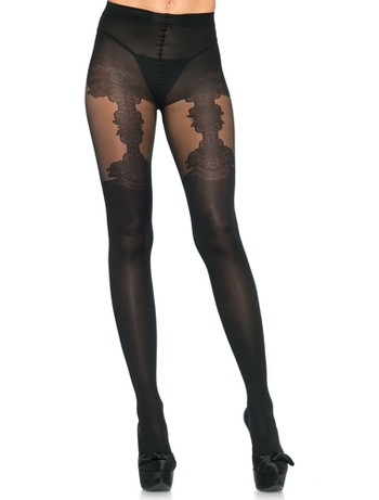 Leg Avenue Tights with Woven Floral Garter Detail black