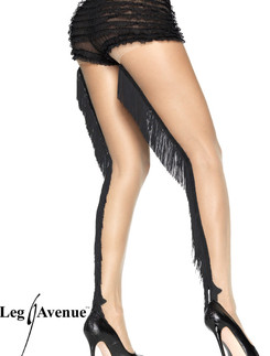 Leg Avenue Spandex Sheer Pantyhose with Fringe backseam
