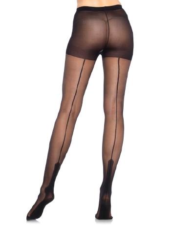 Leg Avenue Cuban Heel Back Seamed Tights black