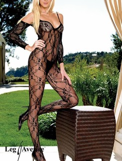 Leg Avenue Floral Lace Bodystocking with attached Sleeves