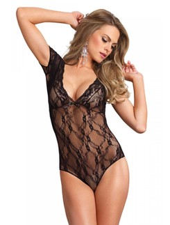 Leg Avenue Floral Lace Backless Teddy