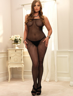 Leg Avenue  L/XL Seamless Crochet Net Bodystocking