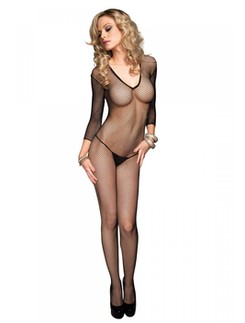Leg Avenue Deep-V long sleeved Fishnet Bodystocking