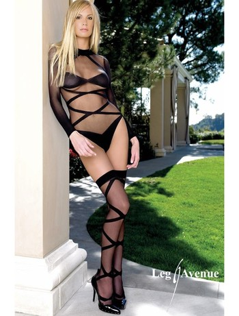 Leg Avenue 2PC Sheer long Sleeve Teddy with Hold Ups black