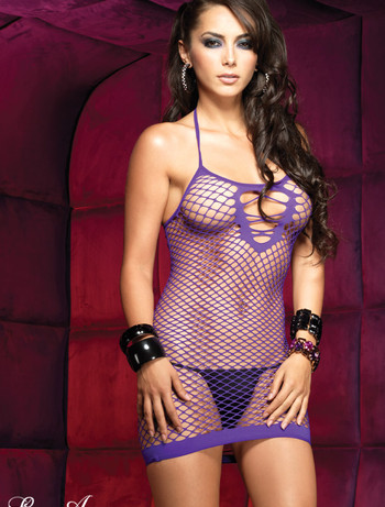 Leg Avenue Oval net seamless halter dress purple