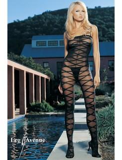 Leg Avenue Spaghetti Strap Opaque Criss Cross Bodystocking