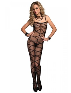 Leg Avenue Spaghetti Strap Opaque Criss Cross Bodystocking