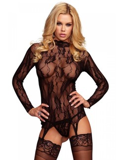 Leg Avenue 2 Piece Floral Lace Garter Top and G-String