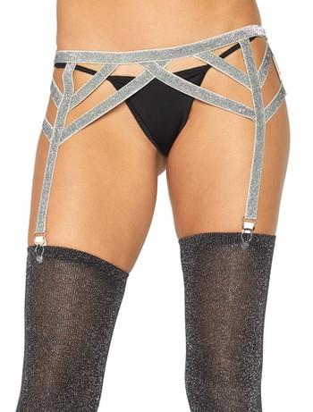 Leg Avenue elastic garter belt metallic yarn