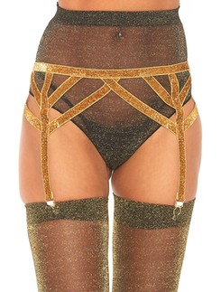 Leg Avenue elastic garter belt metallic yarn