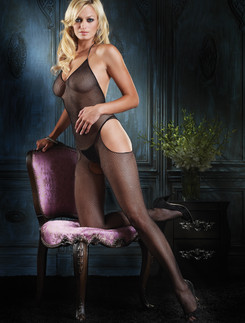 Leg Avenue V-Neck Fishnet Bodystocking with Cut Out